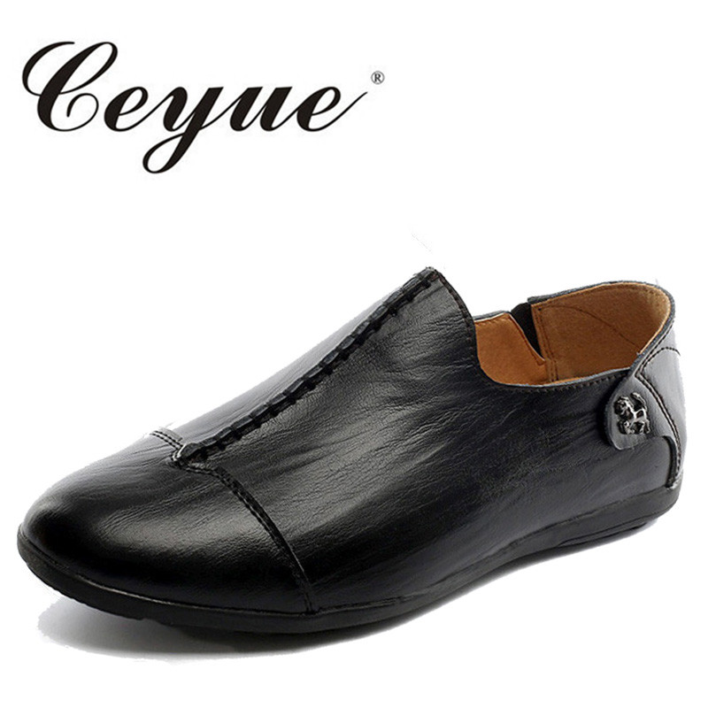 Ceyue New Designer Slip On Casual Shoes Men Non Slip Walking Breathable Pu Leather Loafers Men Low Heel Flat Men Driving Shoes goodster new men s business casual shoes genuine leather flat low men single shoes slip on shoes men