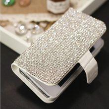 Bling Алмазная Wallet Флип Кожаный Чехол Для iPhone 7 6 6 S Плюс 5S SE 5C 4S Samsung Galaxy S7 S6 Edge Plus S5 S4 S3 Примечание 7 5 4 3 2