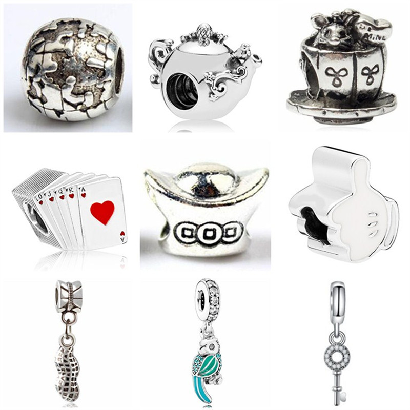 Hot Fashion Mickey Cap Love Heart Key Flower Bowknot Ball Crystal Beads Fit Pandora Charm Bangles For Women Diy Making Jewelry Providing Amenities For The People; Making Life Easier For The Population