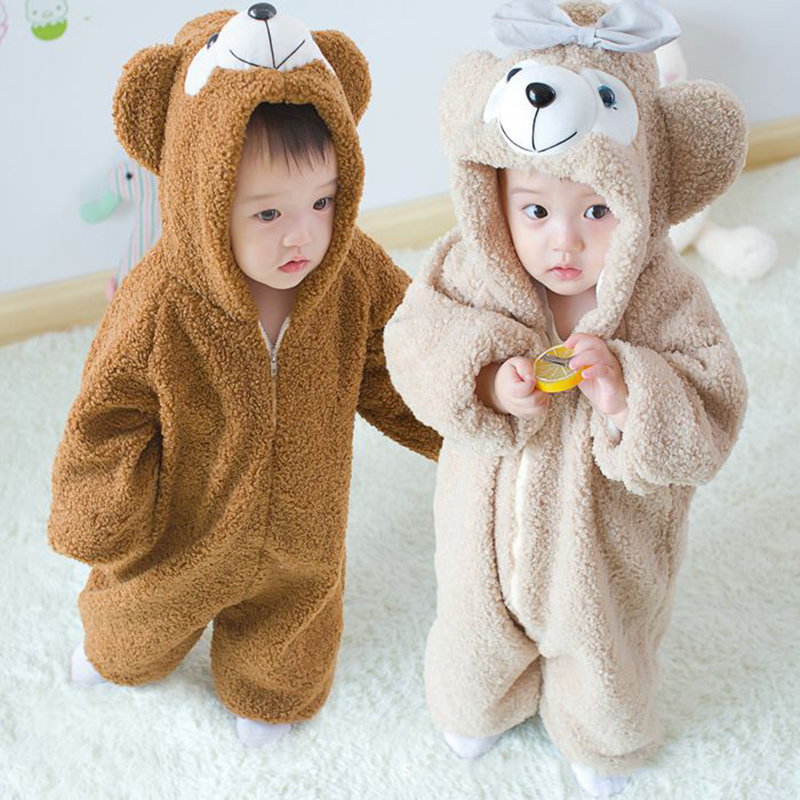 Super Cute Children s Wear Cartoon Bear Plush Siamese Sweater Baby Crawling Clothes Home Pajamas Winter