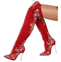 2016 Winter Red Green Suede Pointed Toe Metal Stiletto Heel Over the Knee Boots Lace Up Embroidery Rhinestone Thigh High Boots