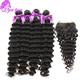 Cheap 10A Indian Deep Wave Hair Lace Closure With Bundles Human Deep Curly Hair Weave 4Pcs/Lot Indian Virgin Hair With Closure