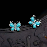 RADHORSE Earring Genuine 925 Sterling Silver Turquoise Butterfly Stud Earrings Women Lovely & Classic Style Fine Jewelry Silver
