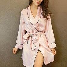 Pink Satin Robe Sexy Peignoir Femme Soie Satin Robes Women Silk Robes For Women Pijamas Batas De Seda Peignoir Kimono Robe   недорого