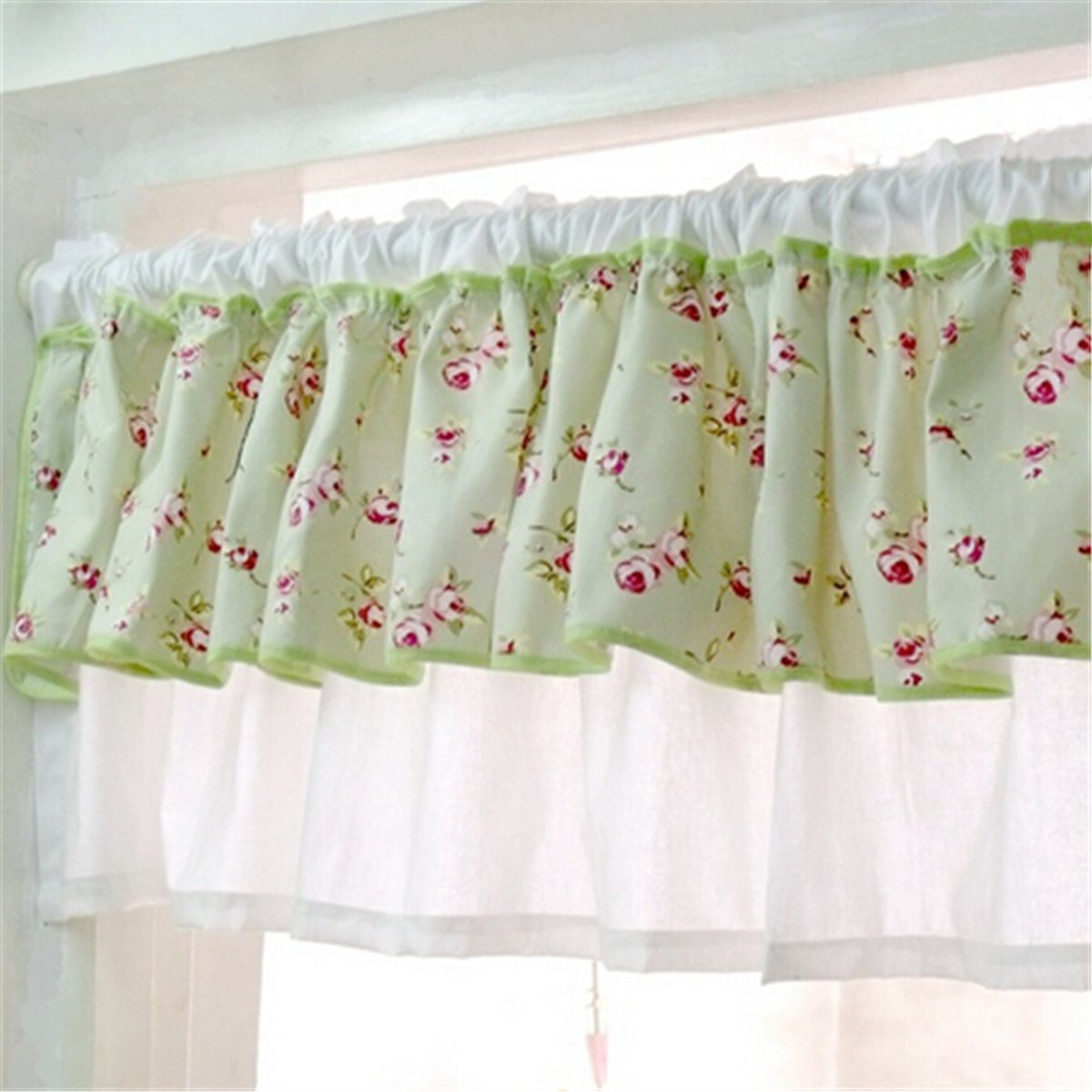 Green bedroom curtains - Pastoral Green Cloth Flower Print Window Curtain Sheer Valance Door Curtains Drape Veil Panel Rod Bedroom
