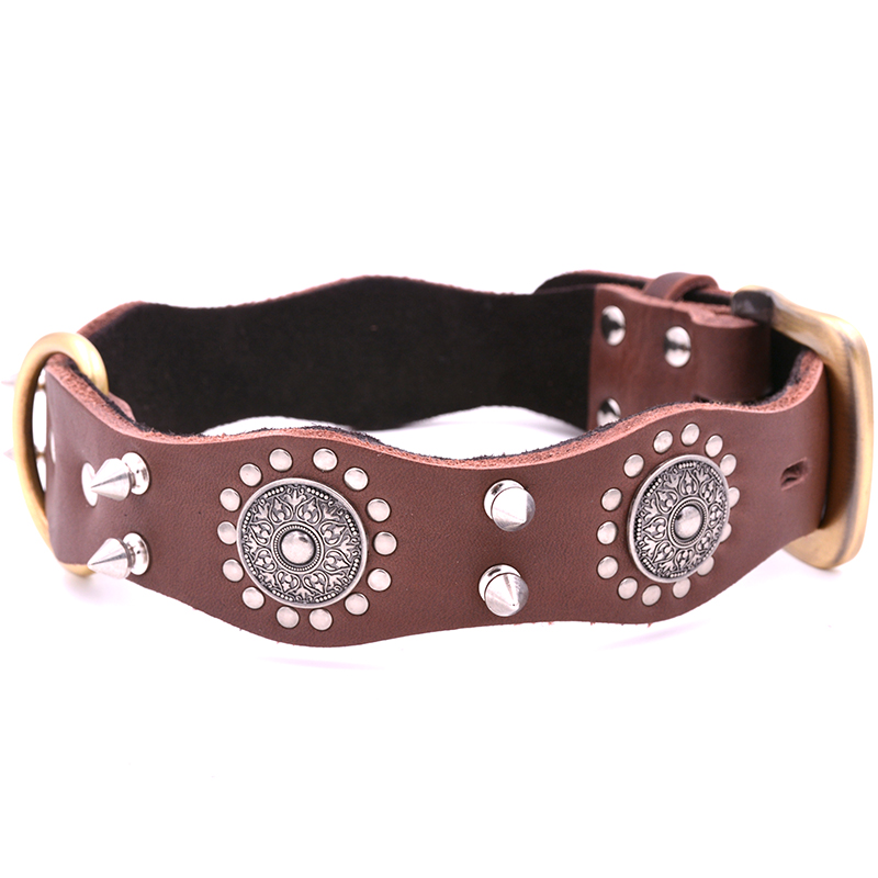 US $24.69 7% OFF|Vintage Big Dog Collar Spiked Large Pet Neck Strap Leather  Rivet Studded Chain Belt For Bulldog Golden Retriever Shepherd Dog-in ...