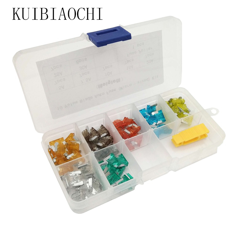 70pcs/lot Fuse Box Auto Micro Fuse 7 Values Blade Mixed 5A 7.5A 10A 15A 20A 25A 30A Car Fuse Kit Assortment with Fuse Puller mini blade fuse assortment auto car motorcycle suv fuses kit apm atm 5a 10a 15a 20a 25a 30a 35a regular size blade