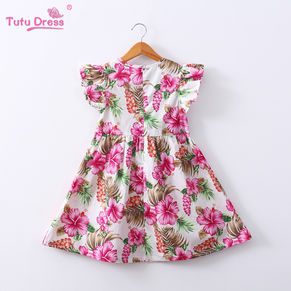 bfc770870d745 Summer Floral Dress for Girls A-Line Print Cotton Short Sleeve Baby Girl  Dress 2019 Birthday Party Kid Clothes Baby Frock 2-12Y