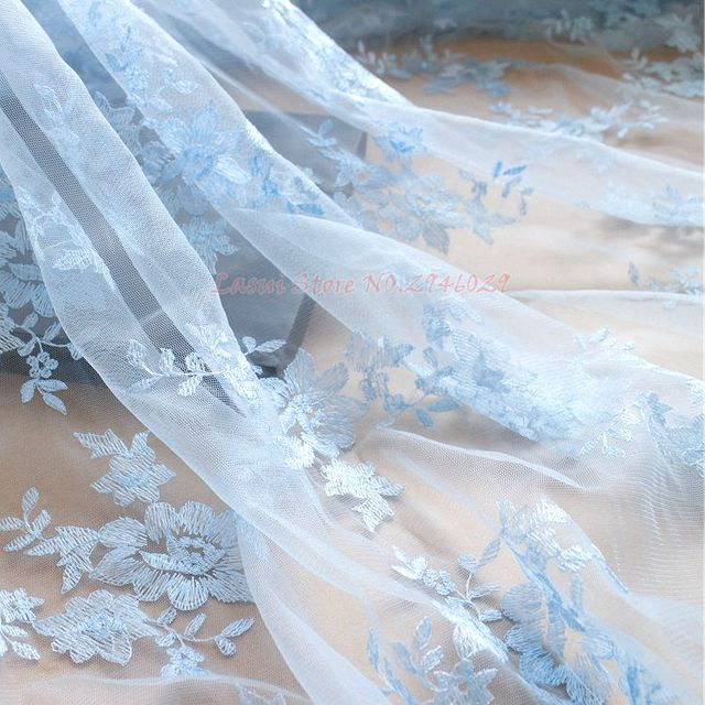Wedding Background Fabric Stage Decorative Diy Dress Embroidered Lace Baby Pink Purple Sky Blue