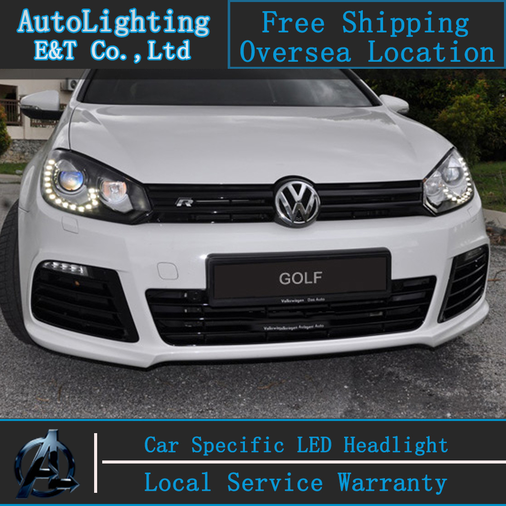 Car styling LED Head Lamp for VW Golf 6 led headlight assembly 2009-2012 GIT R20 Angel eye led drl H7 with hid kit 2 pcs. car styling head lamp for bmw e84 x1 led headlight assembly 2009 2014 e84 led drl h7 with hid kit 2 pcs