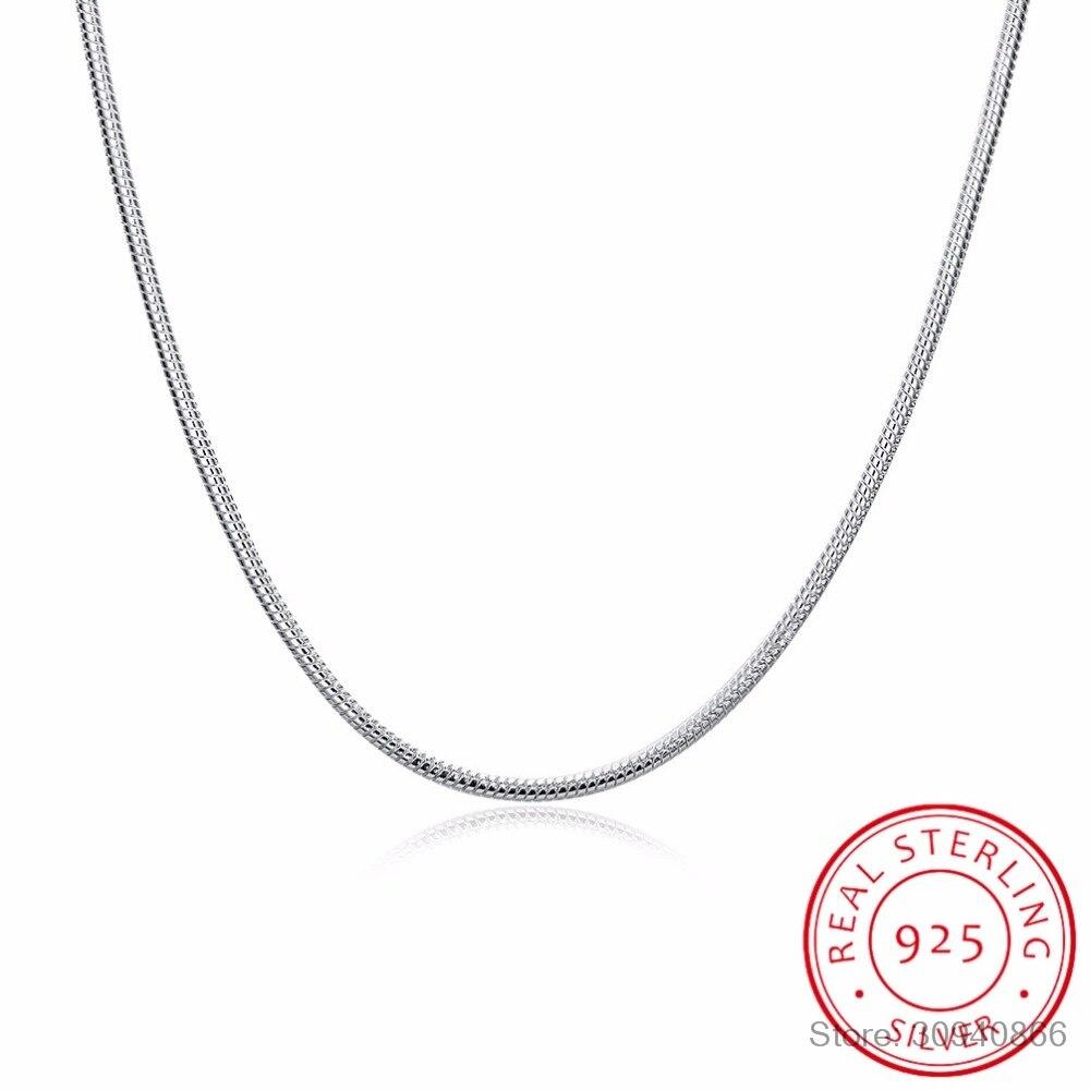 Круглая цепочка-змейка из серебра 925 пробы, 2 мм, 40-60 см