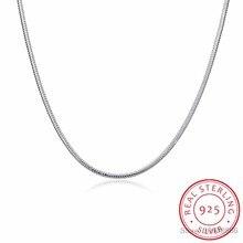 2mm 40-60cm real sólido puro 925 prata esterlina redonda cobra corrente colar feminino meninas masculino jóias 16