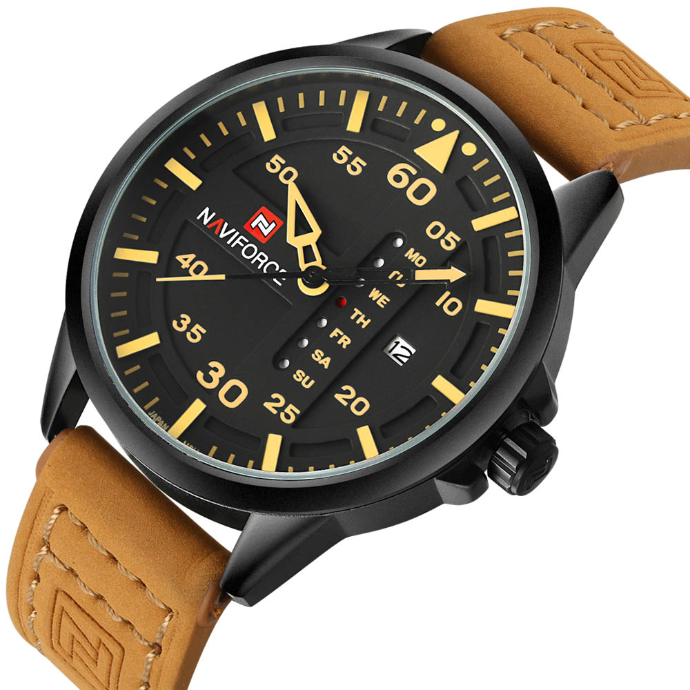 NAVIFORCE Top Brand Men Watch Army Military Watches Men Quartz Date Male Clock Man Leather Sports Wrist Watch Relogio Masculino