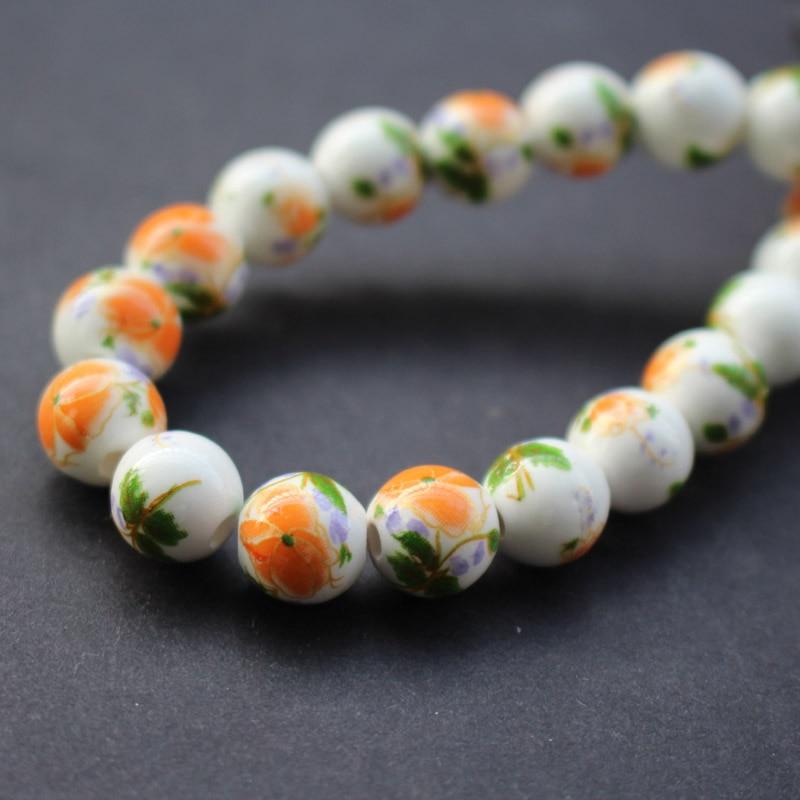 30pcs/lot 10mm C10-11 Diy ceramic beads Round Orange flowers with Green Leaf ceramic beads handmade materials 3691
