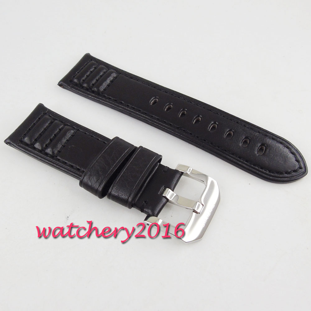 24mm parnis black heavy leather Genuine leather fit mens military parnis mens watch vietnam veteran leather mens watch