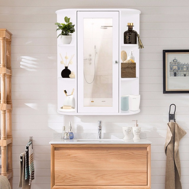Giantex Bathroom Cabinet Single Door Shelves Wall Mount W Mirror Organizer Modern Furniture