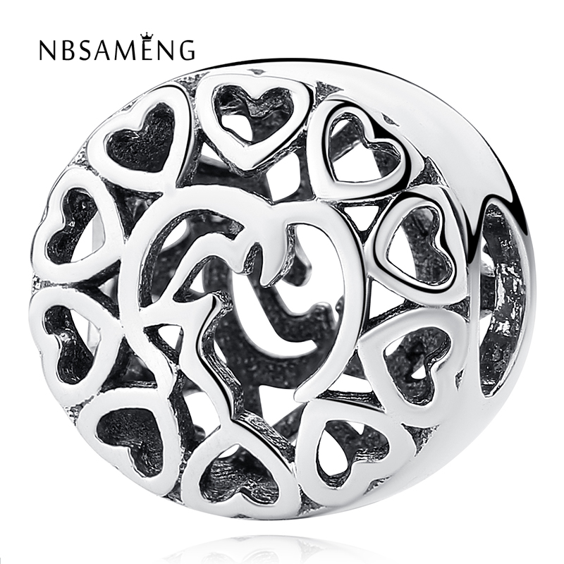New Authentic 925 Sterling Silver Dazzling Clear Vintage Round Heart Beads Fit Pandora Charm Bracelet DIY Original Women Jewelry