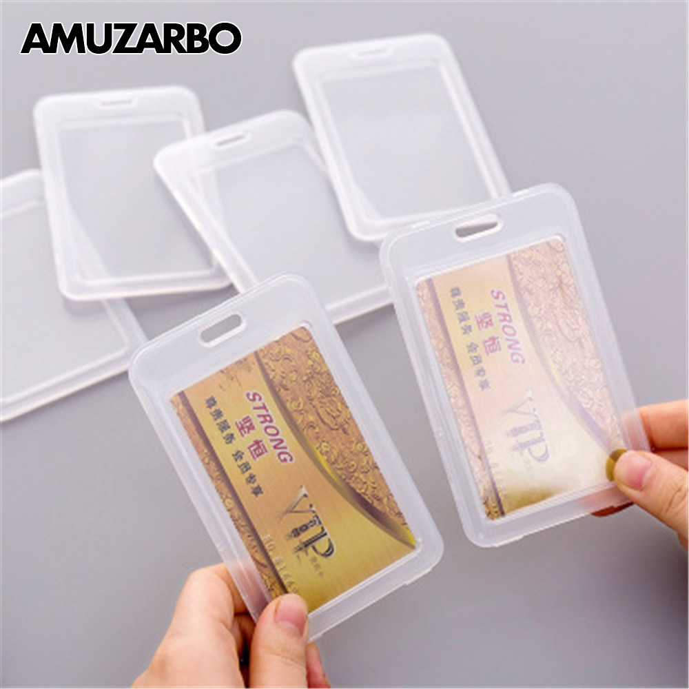 1 PCS High Quality Durable PVC ID Card Holders Dustproof Transparent Credit Card Protectors Business Card Student Card Set