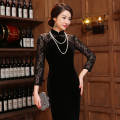 Black Chinese Women Traditional Dress Silk Satin Qipao Top Mini Cheongsam Lace Long sleeve qipao dresses FREE SHIPPING