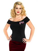 American Apparel Mujeres Negro Algodón de Moda Atractivas del Apagado Hombro Gitanas Camisetas Club Wear rockabilly Bordado Tops