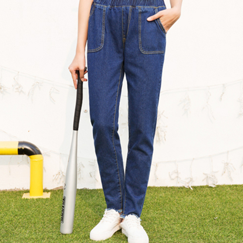 2017 Korean Style Fashion Women`s Plus Size Elastic Waist Washed Dark Blue True Denim Pants Boyfriend Jean Femme For Women Jeans fashion women high waist blue jeans denim pants boyfriend jean femme jeans trousers plus size s 2xl
