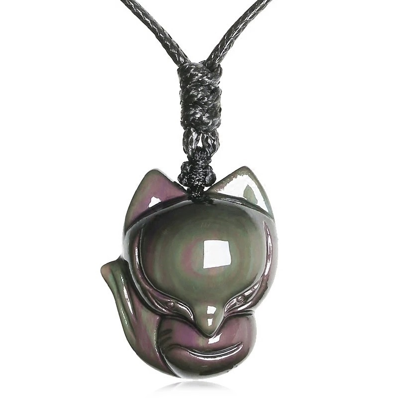 Jewelry Pendant  Fox with Chain Necklace Natural Rainbow Eyes Obsidian Stone Amulet Choker Lucky Necklace Pendant For Women/Men