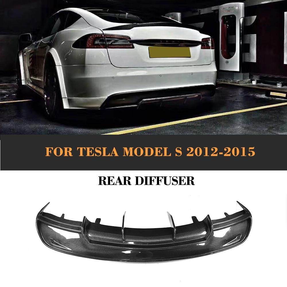 Carbon Firber Car Racing Rear Diffuser Lip With splitters For Tesla Model S Sedan 4-Door 2012-2015 70D 85D 70 P85D