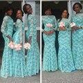 Barato africano laço azul sereia vestidos longos áfrica mulheres da festa de casamento da dama de honra vestido de hortelã longo vestidos de dama de honor
