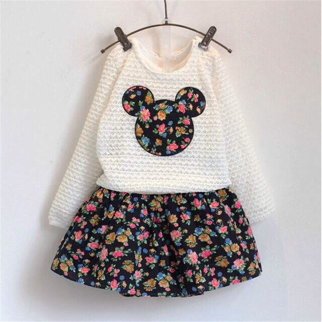Girls clothes New Autumn Baby Girls Clothing Sets Flower Dress + Lace Minnie Tops kids Clothes toddler children clothing , 2-7T