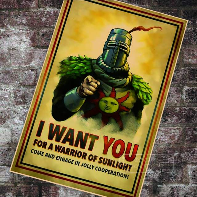 Dark Souls Uncle Sam Solaire recruitment Classic Canvas Paintings Vintage Wall Posters Stickers Home Decor Gift.jpg 640x640q70 - Una bellissima chitarra dedicata a Dark Souls, 100% made in Italy