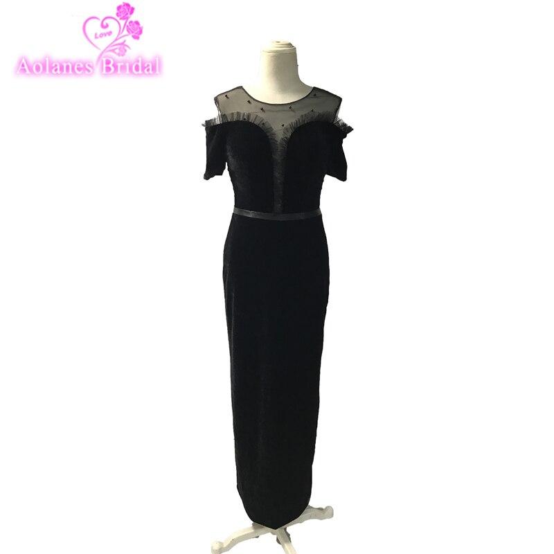 Vintage Black Velvet Evening Dresses With Sleeves Lady Gaga Long Prom Dress Caftan Formal Party Dress New Design Elegent Prom