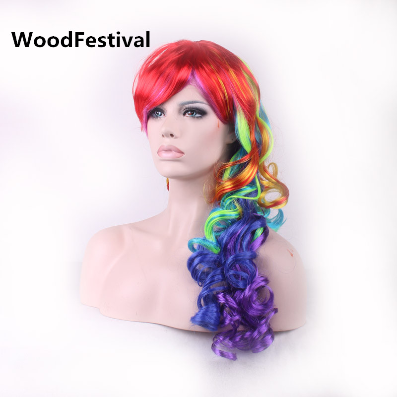 woodfestival multicolour women hair mixed color wigs synthetic wigs heat resistant rainbow wig long curly wig - Colored Wig