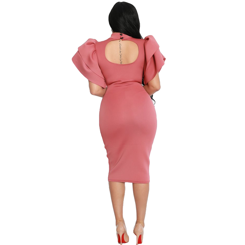 459d49497 Plus Size Woman Pink Long Butterfly Sleeve Side Zipper Bodycon Dress Sexy  Night Party Wear Key Hole Back Ruffles Midi Dresses -in Dresses from Women s  ...