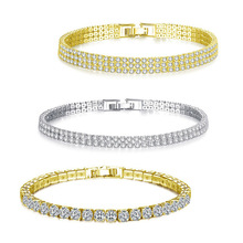 Fashion Cubic Zirconia Tennis Bracelet & Bangle Gold Silver Color Charm Bracelet For Women Bridal Wedding Party Jewelry