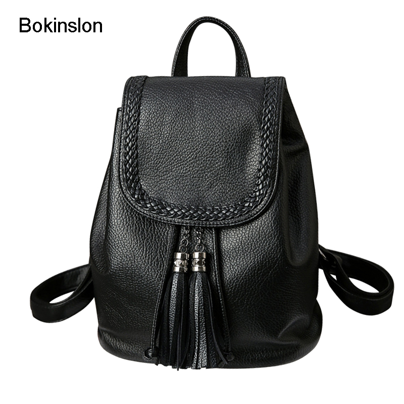 Bokinslon Backpack Bags For Women College Wind Casual Woman Backpacks PU Leather Popular Female Fashion Bags bokinslon backpacks brand womens fashion classic retro women backpack bag college wind pu leather school girl backpack