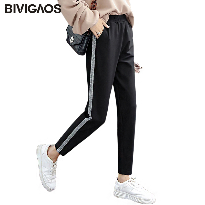 BIVIGAOS Korean Fall New Womens Silver Silk Vertical Striped Harem Pants Casual Wide Leg Pants Loose Trousers Sweatpants Women