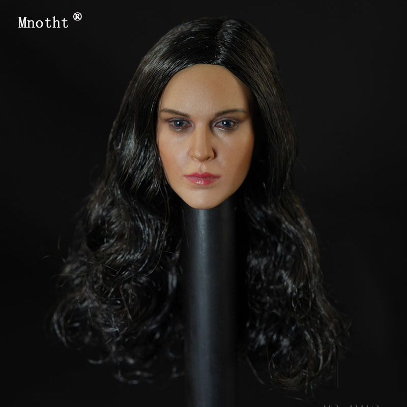 Mnotht 1 6 Female Head Sculpt Long Black Hair Beauty Toy D 004B Head Carved model