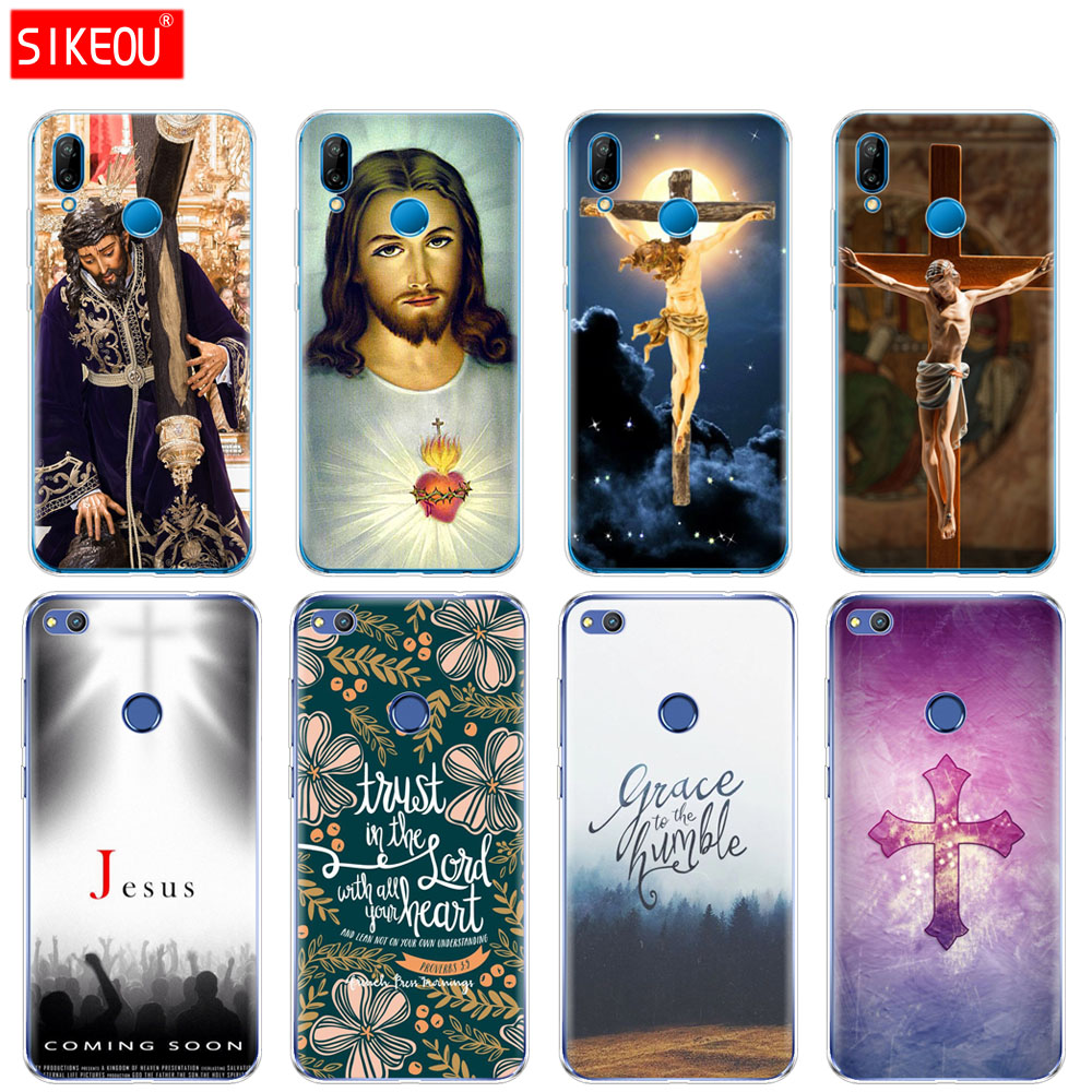 Silicone Cover Phone Case For Huawei P20 P7 P8 P9 P10 Lite Plus Pro 2017 p smart 2018 bible quotes verse Jesus cross image