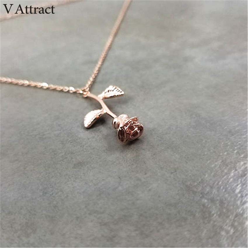 HTB15v ybnZRMeJjSsppq6xrEpXan - FREE SHIPPING New Pink Gold Rose Flower Necklace JKP133