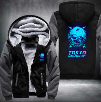 US size Anime Tokyo Ghoul Ken Kaneki Cosplay Blue Luminous Jacket Sweatshirts Thicken Hoodie Coat
