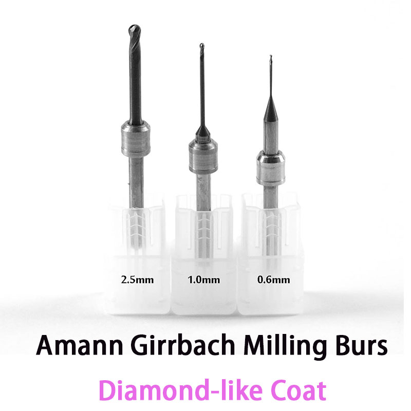 DLC Diamond like Coat Carbide Milling Burs for Amann Girrbach CADCAM System 0 6mm 1 0mm