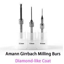 Burs de trituração do carboneto do revestimento do diamante de dlc para o sistema 0.6mm da cadcam de amann girrbach, 1.0mm, 2.5mm