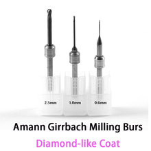 DLCเพชรเหมือนเสื้อโม่คาร์ไบด์BursสำหรับAmann GirrbachระบบCADCAM 0.6มิลลิเมตร, 1.0มิลลิเมตร, 2.5มิลลิเมตร