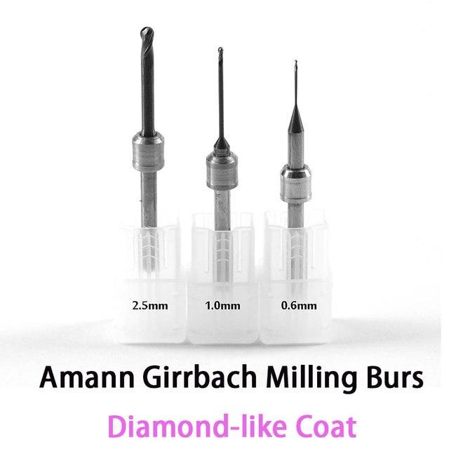 DLC Diamant wie Coat Carbide Fräsern für Amann Girrbach Cadcam system 0,6mm, 1,0mm, 2,5mm