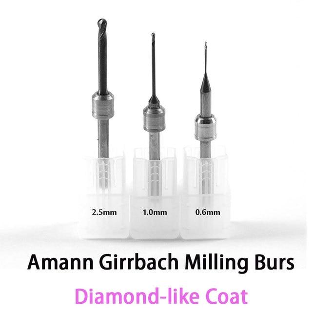 DLC Diamond like Coat Carbide Milling Burs for Amann Girrbach CADCAM System 0.6mm, 1.0mm, 2.5mm