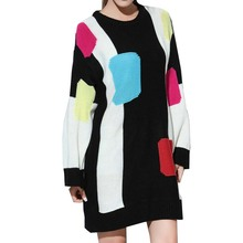 ผู้หญิงยาวถักเสื้อกันหนาว2016ฤดูใบไม้ร่วงฤดูหนาวแฟชั่นความคมชัดสีOคอเต็มแขนO Versizeเสื้อจัมเปอร์ท็อปส์ดึงเด็กหญิง