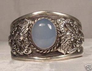Rare Nepal Silver Great Dragon Cuff Bracelet