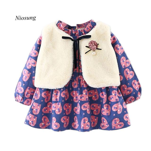 Bebé de la manera Traje de la Muchacha Infantil de Invierno Chaleco + Gruesa de Manga Larga Vestido de Flores Ropa de Abrigo Establecen