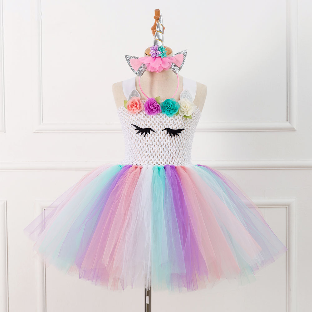 Children Girls Unicorn Dress Rainbow Party Dress Elegant Costume Kids Wedding Dresses For Girls With Headband