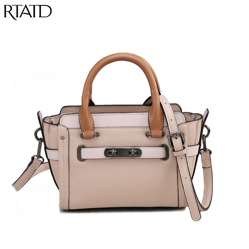 RTATD Classic Double Hasp Women Tote Trendy Wings Design Genuine Leather Lady Handbags Messenger Bags For Female B259 цены